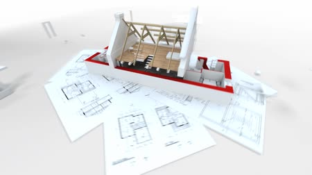 mühendislik : 3D animation showing a home construction process, from the blueprints to the roofing installation. Stok Video