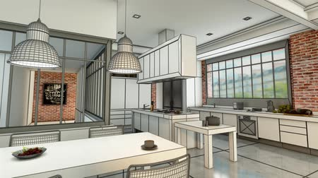 remodelar : 3D animation of a modern urban kitchen evolving  from a wireframe rendering to a realistic color rendering Stock Footage