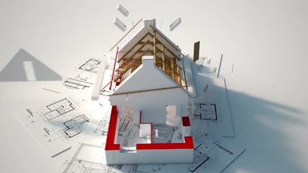 zastřešení : 3D animation showing the different construction stages from blueprints to the roofing installation