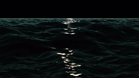 reflecties : Magical oceaangolven video-animatie 's nachts, lus HD 1080p