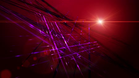 red background : Futuristic video animation with moving stripe background and lights, loop HD 1080p