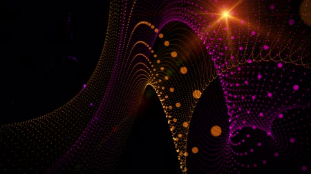 orange background : Futuristic video animation with particle stripe object and light in motion, loop HD 1080p