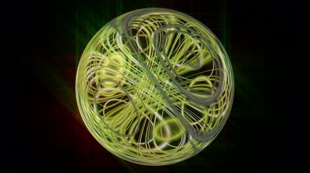 black yellow : Fantastic video animation with glowing light sphere in motion, loop HD 1080p