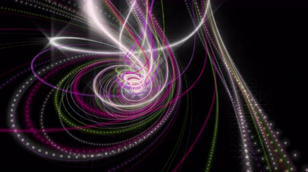 en az : Futuristic video animation with glowing particle stripe object in slow motion, 4096x2304 loop 4K Stok Video