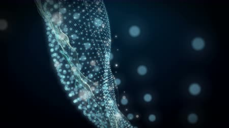 fénylik : Futuristic video animation with wave and particles in slow motion, 4096x2304 loop 4K