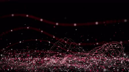 Futuristic video animation with wave object and flickering particles in motion, 4096x2304 loop 4K