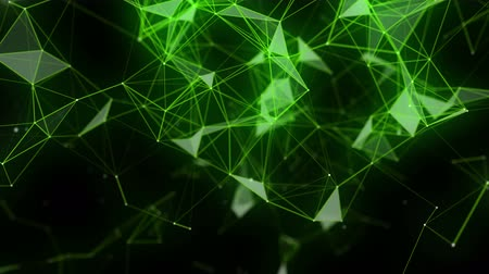 Futuristic eco plexus video animation with glowing triangles in slow motion, 4096x2304 loop 4K