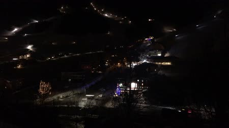 floodlight : Timelapse of ski resort at night Stock Footage