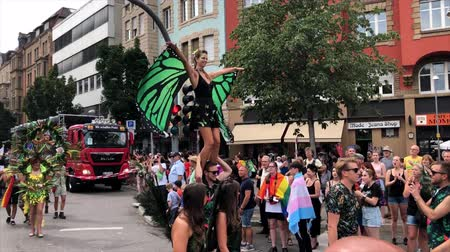 Christopher Street Day 2018 in Stuttgart, Germany Stock mozgókép