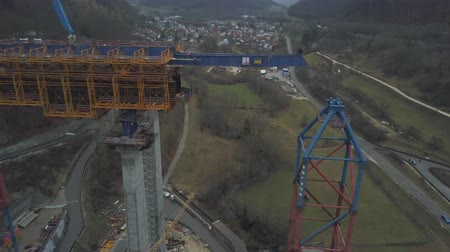 eight : New railway bridge construction - Stuttgart 21, Aichelberg Stock Footage