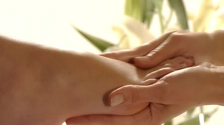 unha : close up of a foot massage Stock Footage