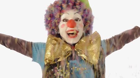 palhaço : Nice clown throwing confetti on white background Vídeos