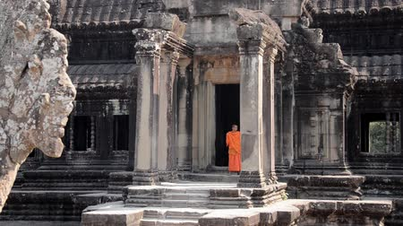 clergyman : cambodian monks in angkor wat temple