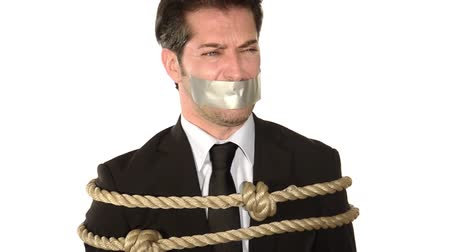 adam : Businessman gagged with adhesive tape on mouth on white background