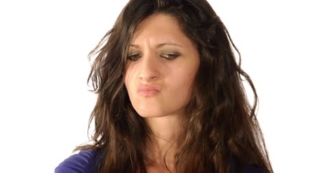 sinir : woman, facial expressions series, anger Stok Video