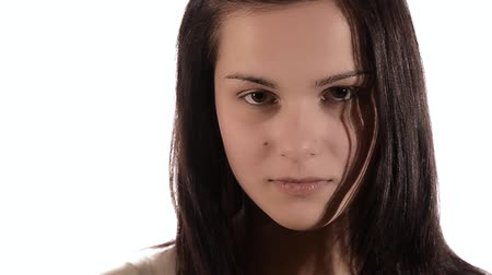 sulk : brunette girl pouting Stock Footage