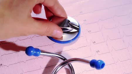 heart failure : electrocardiogram and stethoscope Stock Footage