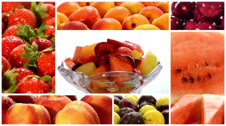 vitaminic : fruit salad collage Stock Footage
