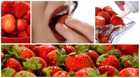 desszertek : strawberries collage Stock mozgókép