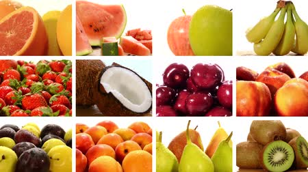 desszertek : diverse fruits collage Stock mozgókép