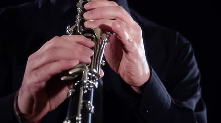 playing band : clarinet close up Stock Footage