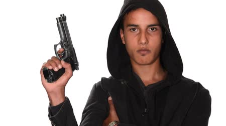 марокканский : bad boy with gun on white background