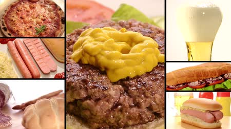 mustard : Collage including raw burgers, cooked burgers and hamburger sandwich making Stock Footage