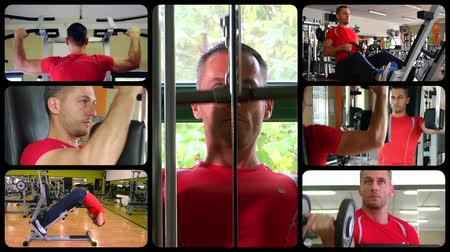 montázs : Fit man doing workout at the gym, montage Stock mozgókép