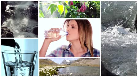 kolaj : fresh water collage Stok Video