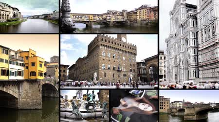 kolaj : Florence. Cityscapes, buildings and art collage. Stok Video
