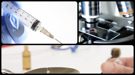 tedavi etmek : Pharmaceutical research montage. Doctors, drugs and instruments. Stok Video
