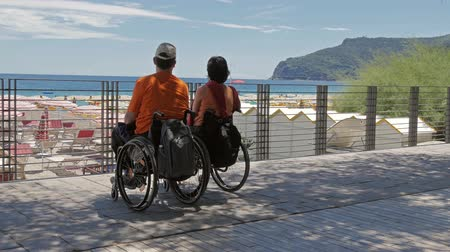 arka görünüm : couple at the beach with wheelchairs shot in 4k Stok Video