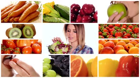 comer : Collage including diverse fruits and vegetables and women eating healthy food