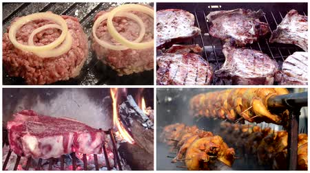 burgher : meat collage including burghers, grilled chicken, pork chops and florentine style steak