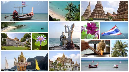kultúra : thailand montage, art, culture, nature and wonderful sea Stock mozgókép