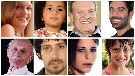 diferença : diverse people collage Stock Footage