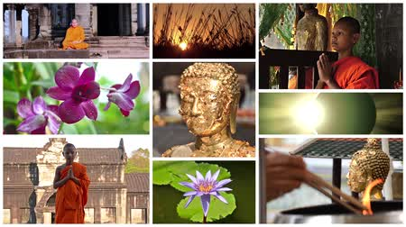 szerzetes : buddhism montage including monks, temples, buddha statues and wonderful nature scenes