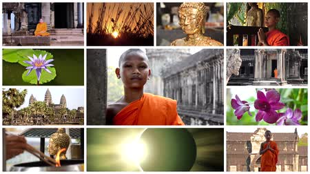 východní : buddhism montage including monks, temples, buddha statues and wonderful nature scenes