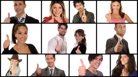 yeah : People like it! Men and women gesturing thumbs-up over white background. Montage