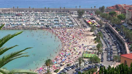 menton : birds eye view of menton beach and port Stock Footage