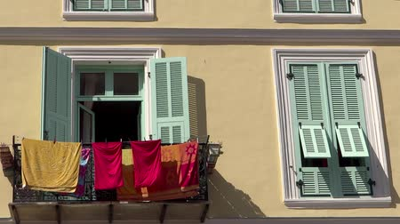 menton : old house and hanging clothes in Menton close up Stock Footage