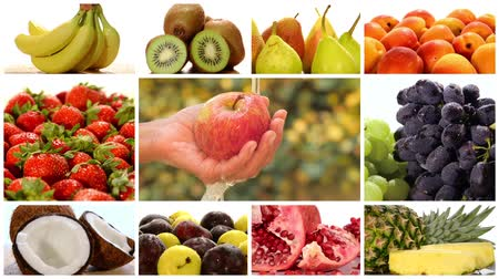 vitaminic : fruits montage including apple, banana, coconut, kiwi, pomegranate, strawberry and others