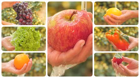 фрукты : diverse fruits and vegetables under pouring water montage Стоковые видеозаписи