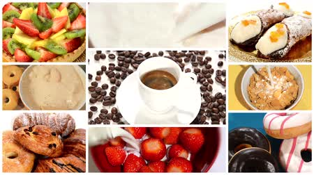 coffee time : collage including diverse pastries, a cup of coffee, strawberries and fresh milk