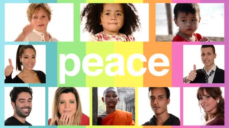 hiç kimse : peace concept, collage of people of different racial and ethnic backgrounds