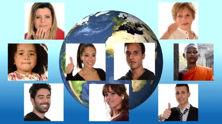 hiç kimse : collage of people of different racial and ethnic backgrounds over planet earth background Stok Video