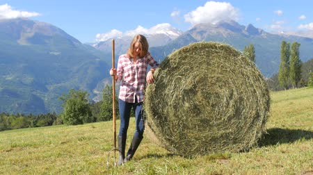 hayloft : farm girl and hay bale over an alpine panorama, 4k