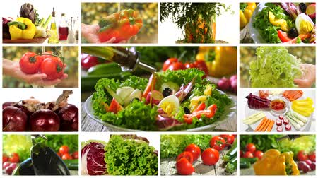 rajčata : diverse vegetables and mixed salad montage Dostupné videozáznamy