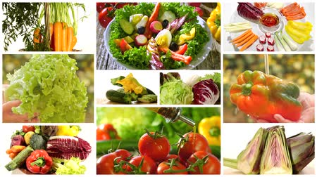 beringela : diverse vegetables and mixed salad montage Stock Footage