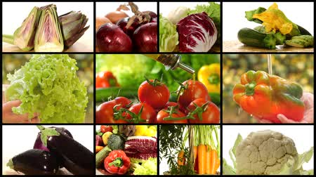 kolaj : collage including diverse vegetables and olive oil pouring over tomatoes Stok Video